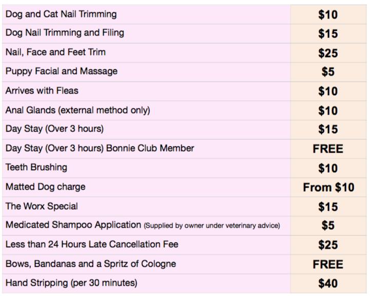 Extras Price List